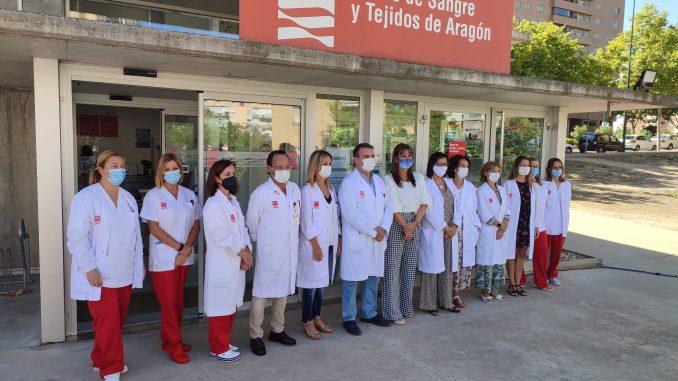 Visita 15 aniversario Banco Sangre Aragón Sira Repollés