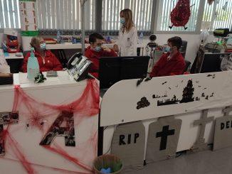 Decoracion por Halloween en el Banco de Sangre y Tejidos de Aragon